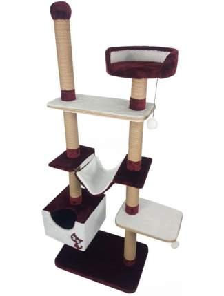 Комплекс для кошек Зооник многоуровневый бордо мех/пенька 110х47х190 см