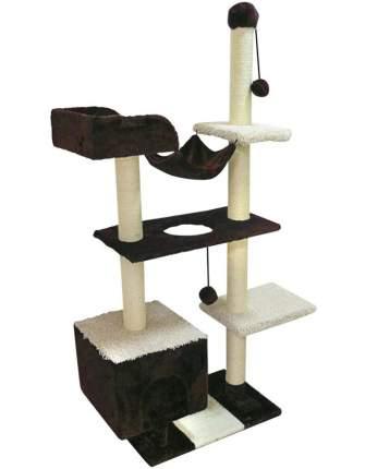 Комплекс для кошек Зооник с домом, гамаком и лежанкой оричневый мех/ковролин 101х43х170 см