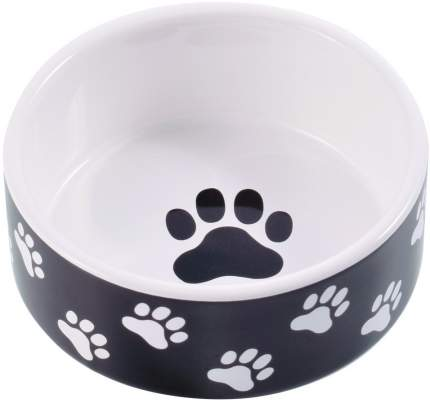 Миска для собак КерамикАрт, керамическая, черная с лапками, 420 мл