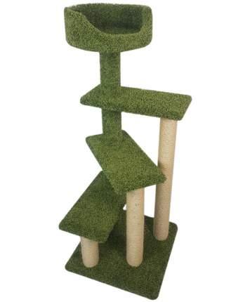 Комплекс для кошек Пушок Винтовая лестница, ковролин, зеленый, 57х57х156 см