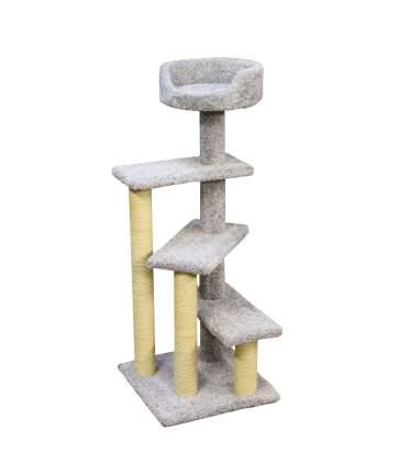 Комплекс для кошек Пушок Винтовая лестница, ковролин, серый, 57х57х156 см