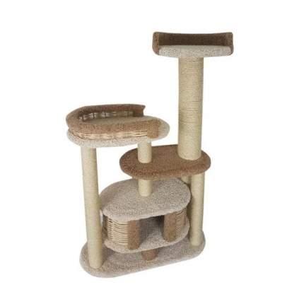 Комплекс для кошек Пушок Гарошик, ковролин молочный с капучино, 100х40х160 см