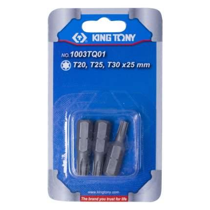 """KING TONY Набор вставок (бит) 1/4"""" TORX Т20 Т25 Т30 3 предмета 1003TQ01"""