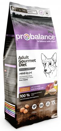 Сухой корм для собак ProBalance Gourmet Diet Adult, говядина, кролик, 15кг