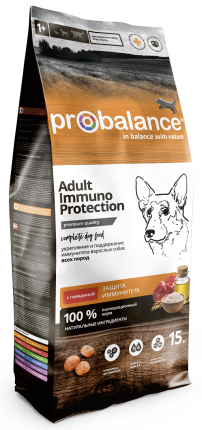 Сухой корм для собак Immuno Adult Beef, защита иммунитета, с говядиной, 15 кг
