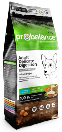 Сухой корм для собак ProBalance Delicate Digestion, лосось,  рис, 15кг