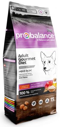 Сухой корм для собак ProBalance Gourmet Diet Adult, говядина, ягненок, 15кг