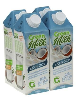 Напиток из растительного сырья Кокос, 750 мл 4шт., Green Milk