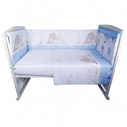 Комплект в кроватку Bambola Птички голубой, 4 предмета