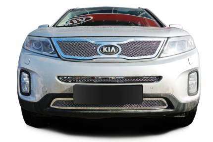Накладка решетки радиатора Fancycar Kia Sorento II , верхняя, сетка 1,5 мм, нерж. сталь