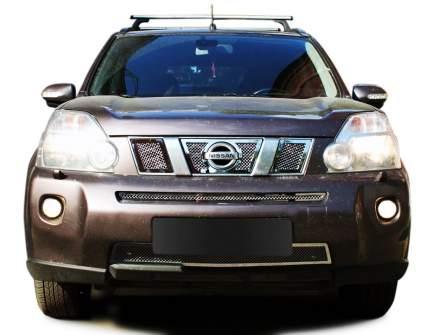 Накладка решетки бампера Fancycar Nissan X-Trail T31, нижняя, сетка 1,5 мм, нерж. сталь
