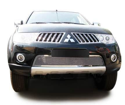 Накладка решетки бампера Fancycar Mitsubishi Pajero Sport II нижняя  1,5 мм, нерж. сталь
