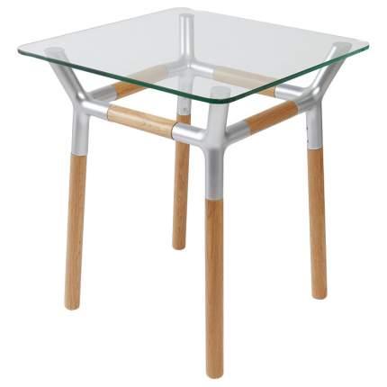 Журнальный столик Umbra Konnect 320270-392 45,5х45,5х51,9 см, никель/прозрачное стекло