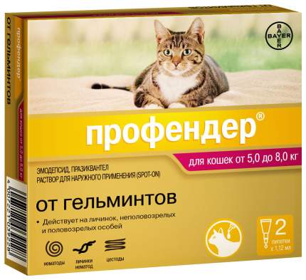 Антигельминтик для кошек BAYER Profender (5-8кг), 2 пипетки 1,12 мл