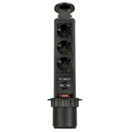 Выдвижная розетка ROZETKA21 RUFH BLACK на 3 EURO розетки, 2 USB, черная, верт