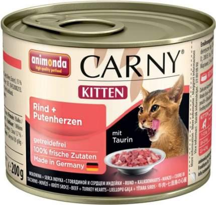 Консервы для котят Animonda Carny Kitten, говядина, сердце индейки, 6шт по 200г