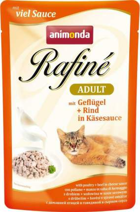 Влажный корм для кошек Animonda Rafine Adult птица и говядина в сырном соусе, 12шт по 100г