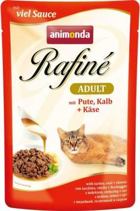 Влажный корм для кошек Animonda Rafine Adult, индейка, телятина и сыр, 12шт по 100г