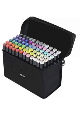 Скетч маркеры/ Маркеры для рисования/ двусторонние маркеры 80 шт в чехле разноный