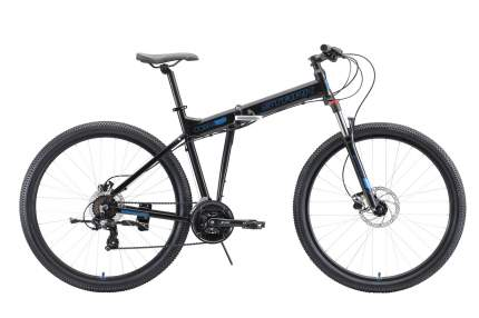 "STARK Велосипед Stark Cobra 29.2 HD (2020) чёрный/голубой 18"""