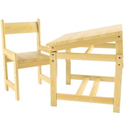 Растущий набор Стол-парта и Стул деревянный, сосна