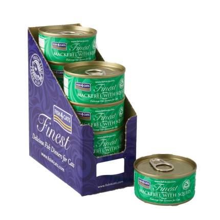 Консервы для кошек Finest Fish4Cats Mackerel with Squid скумбрия с кальмарами, 70г 10шт