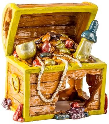 Декорация для аквариума GLOFISH Сундук с сокровищами S, пластик, 7.6х5.6х7.9 см