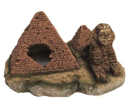 Декорация для аквариума Prime Пирамиды со Сфинксом, пластик, 16х17х8.5 см
