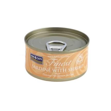 Консервы для кошек Finest Fish4Cats Sardine with Shrimp сардины с креветками 70гр (10шт)
