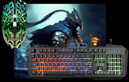 Игровой набор Defender Leed MKP-116 RU,Light,мышь+клавиатура+ковер