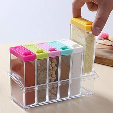 Кухонный набор банок-контейнеров для хранения приправ и специй, 6 шт