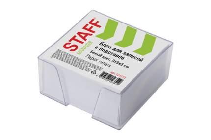 Блок для записей STAFF 129193 в подставке прозрачной, куб 9х9х5 см, белый, белизна 90-92%