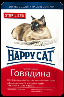 Влажный корм для кошек Happy Cat Sterilized для стерилизованных говядина в желе 22шт х100г