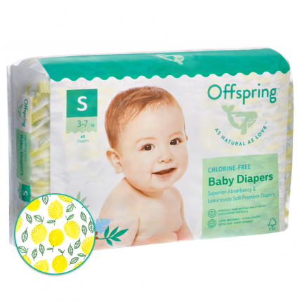Подгузники Offspring S 3-7 кг. 48 шт. Лимоны