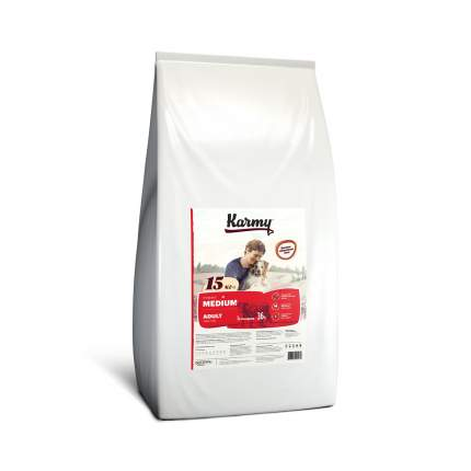 Сухой корм для собак Karmy Medium Adult, для средних пород, телятина, 15кг