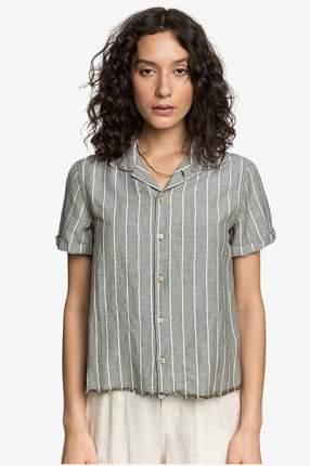 Женская льняная рубашка с коротким рукавом Womens Quiksilver, белый, XS