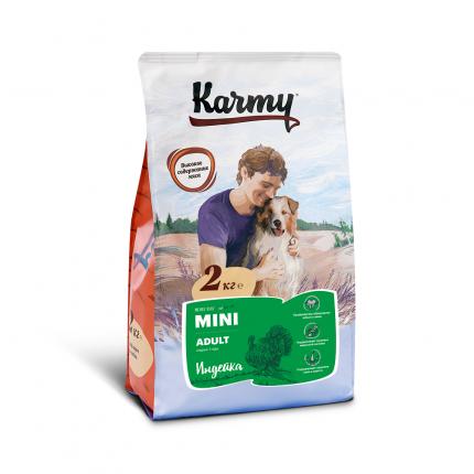Сухой корм для собак Karmy Mini Adult, для мелких пород, индейка, 2кг