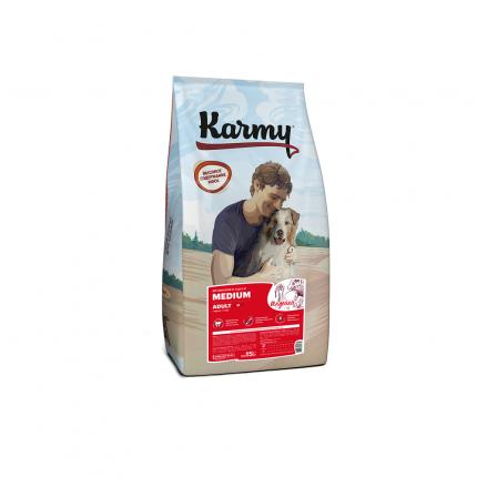 Сухой корм для собак Karmy Medium Adult, для средних пород, индейка, 15кг