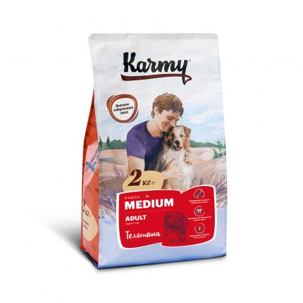 Сухой корм для собак Karmy Medium Adult, для средних пород, телятина, 2кг