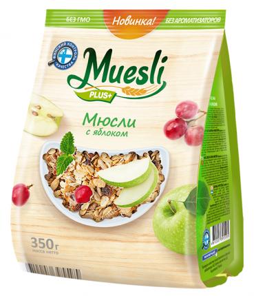 Muesli plus+ Мюсли с яблоком, ФП 350г