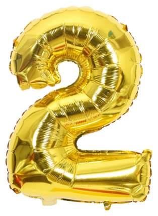 """Воздушный шар-самодув """"Цифра 2"""", фольгированный, золотой, 18 см"""
