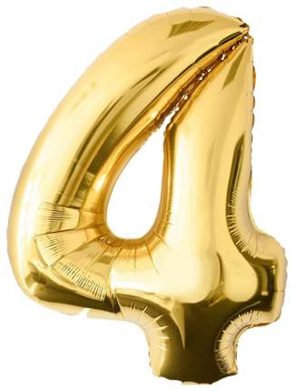 """Воздушный шар-самодув """"Цифра 4"""", фольгированный, золотой, 18 см"""