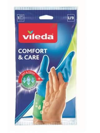 Перчатки для уборки Vileda Comfort & Care с кремом для чувствительной кожи рук размер L