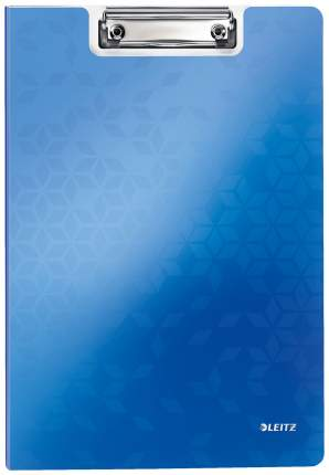 """Папка-планшет с верхним прижимом и крышкой """"WOW"""", A4, 330х230 мм, полифом, синяя"""