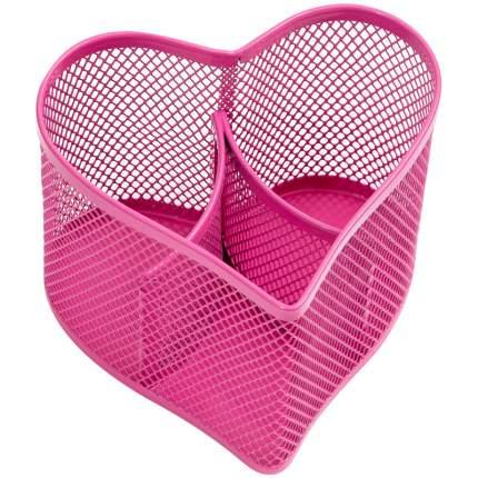 """Настольная подставка """"Steel&Style"""", металлическая, в виде сердца, 3 секции, розовая"""