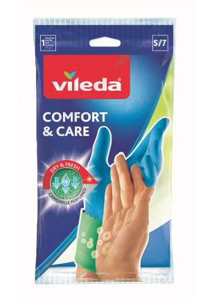 Перчатки для уборки Vileda Comfort & Care с кремом для чувствительной кожи рук размер S