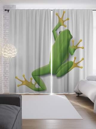 """Шторы с фотопечатью """"Лягушка на стене"""" из сатена, 290х265 см"""