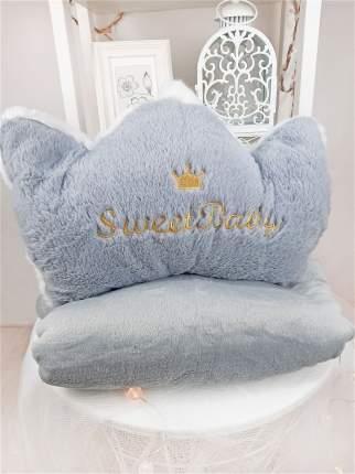 Мягкая подушка с пледом Cherir Корона серая