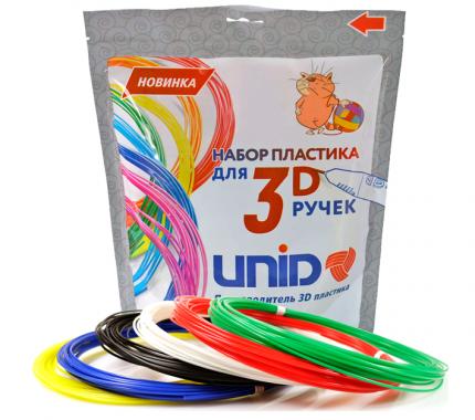 Набор пластика для 3D ручек Unid, PLA-6, 10м, 6 цветов
