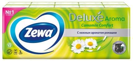 Платочки бумажные носовые Zewa Deluxe Ромашка, 3 слоя, 10х10 шт